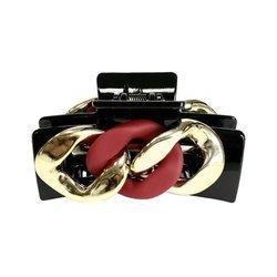 Klamra do włosów czarna z łańcuchem (czerwień)